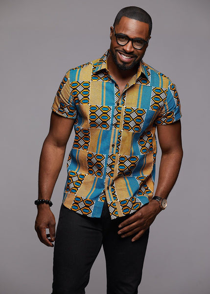 Tops - Keyon Button-Up African Print Shirt (Blue/Tan)