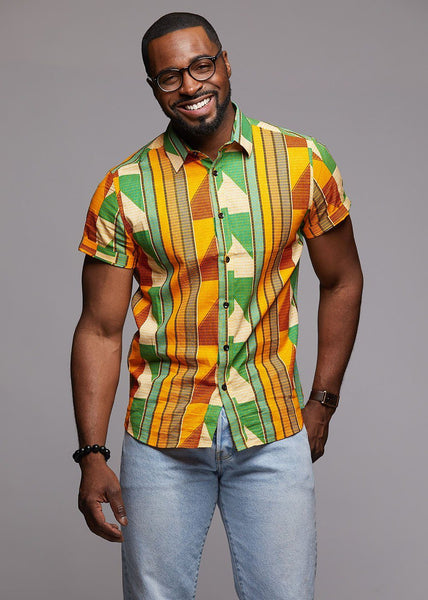 Tops - Keyon Button-Up African Print Shirt (Green/Tan/Yellow)