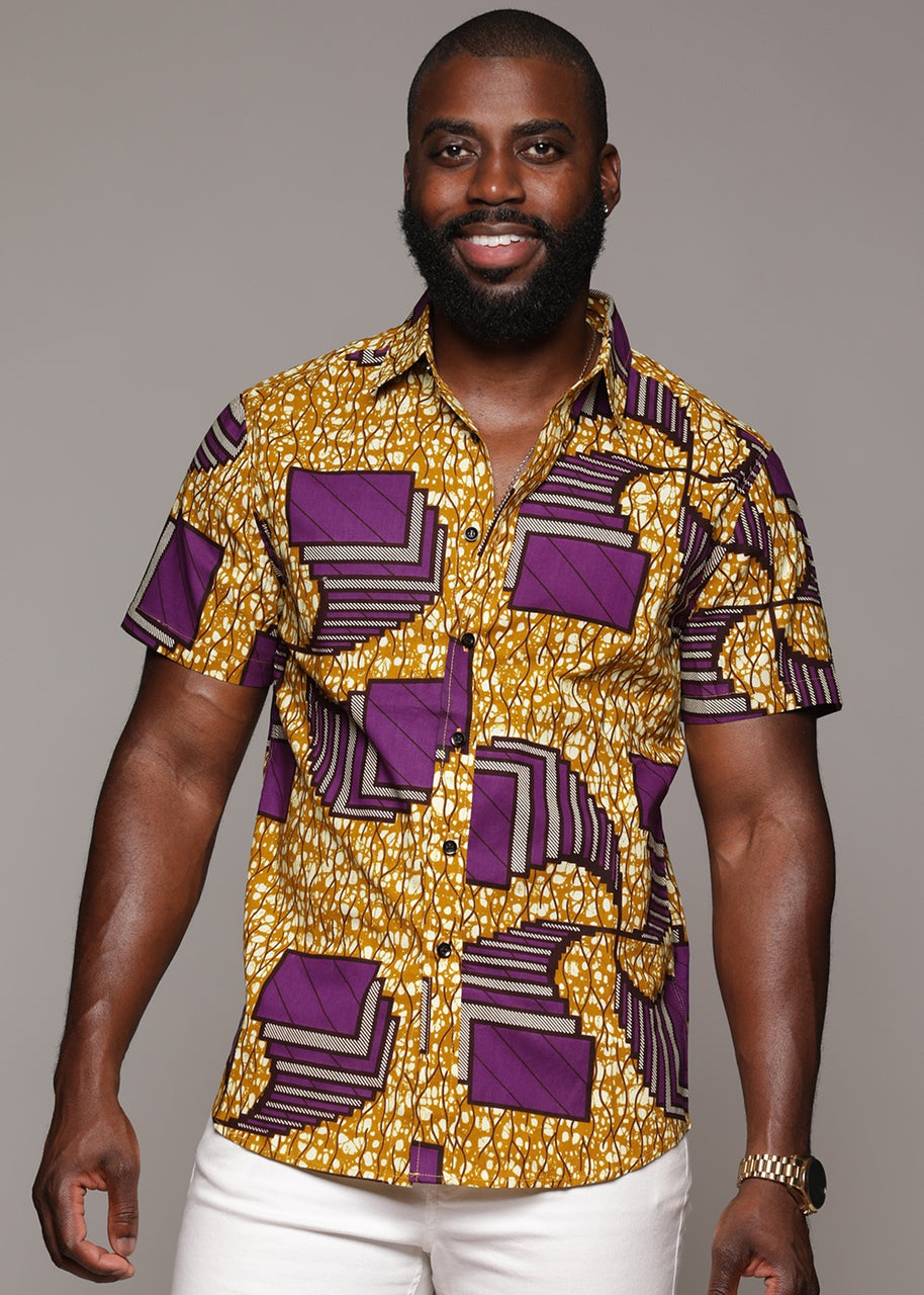 Tops - Keyon Button-Up African Print Shirt (Purple Squares)