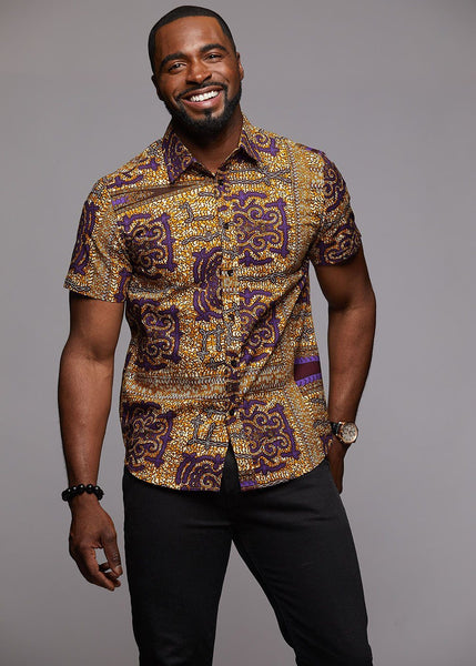 Tops - Keyon Button-Up African Print Shirt (Purple/Tan)