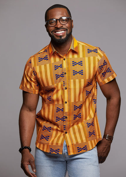 Tops - Keyon Button-Up African Print Shirt (Tan Kente)