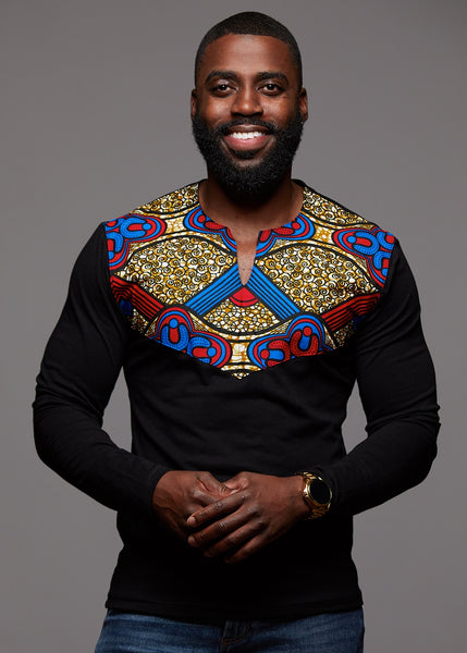 Tops - Lanre Men's African Print Long Sleeve Shirt (Black/Red Blue Tan)