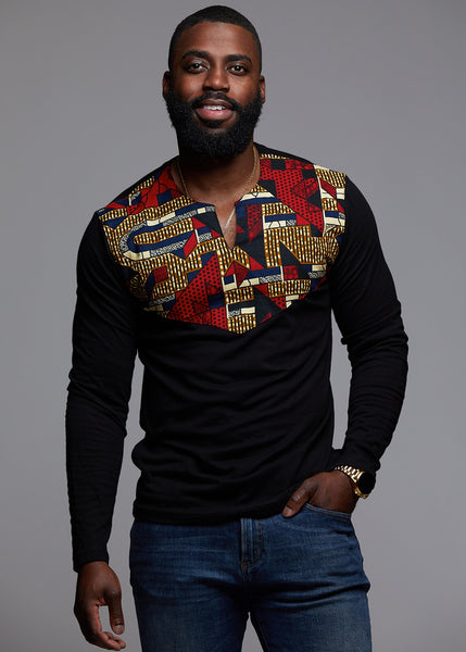 Tops - Lanre Men's African Print Long Sleeve Shirt (Black/Red Navy Stripe)