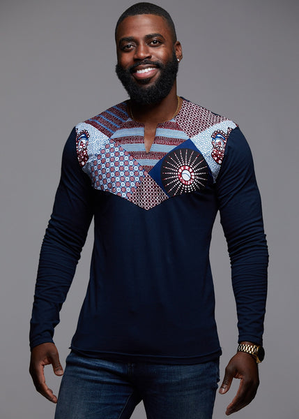 Tops - Lanre Men's African Print Long Sleeve Shirt (Blue/Blue Crown)