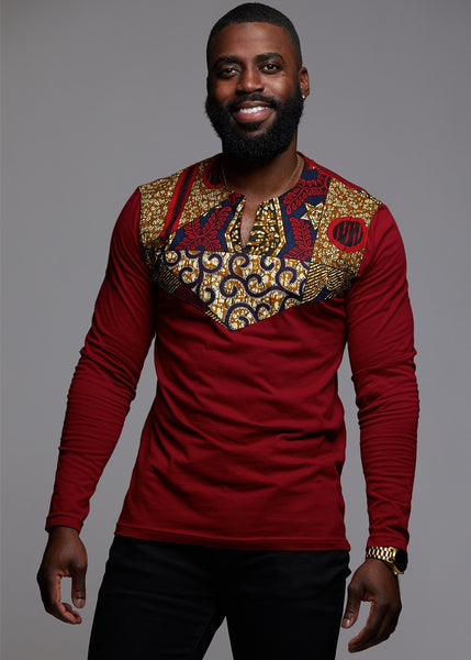 Tops - Lanre Men's African Print Long Sleeve Shirt (Maroon/ Maroon Multipattern)