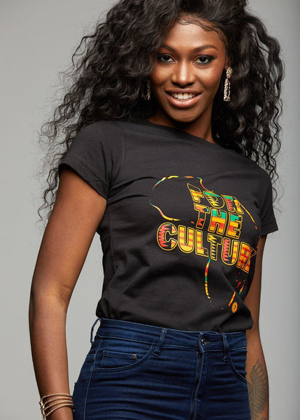 "Tops - Layla Women's Kente ""For The Culture"" Graphic T-shirt (Black)"