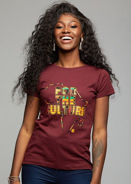 "Tops - Layla Women's Kente ""For The Culture"" Graphic T-shirt (Maroon)"