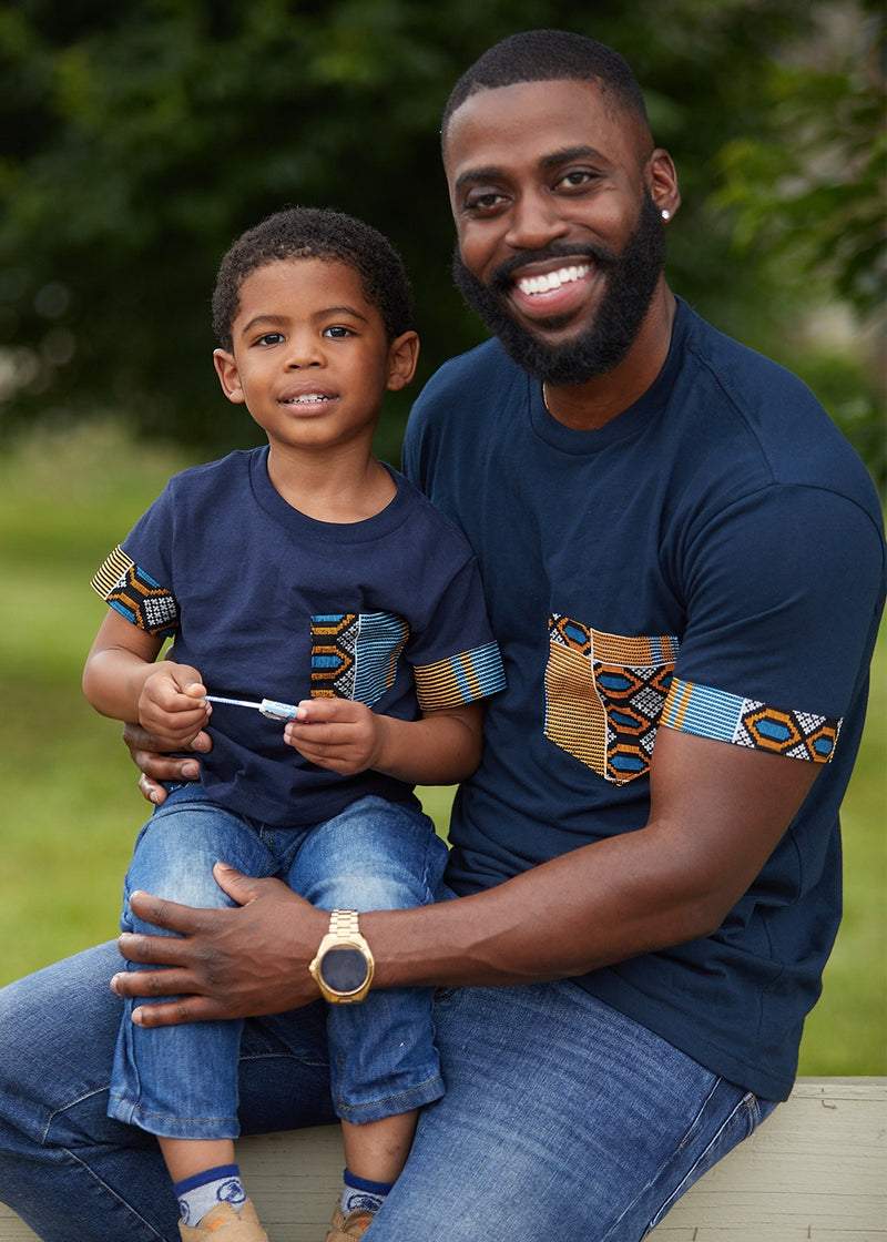 Tops - Little Seun Boy's African Print T-Shirt (Blue/Tan/Navy)