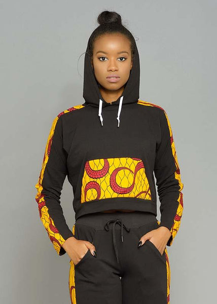 Tops - Masika Women's African Print Cropped Hooded Sweatshirt (Yellow/Red Swirls)