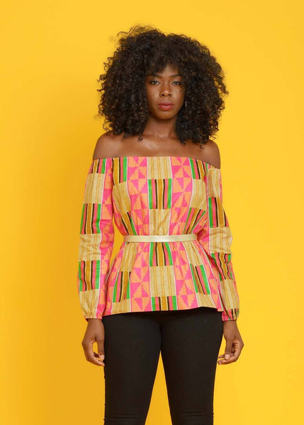 Tops - Mia African Print Long Sleeve Off The Shoulder Top  (Pink/Beige)