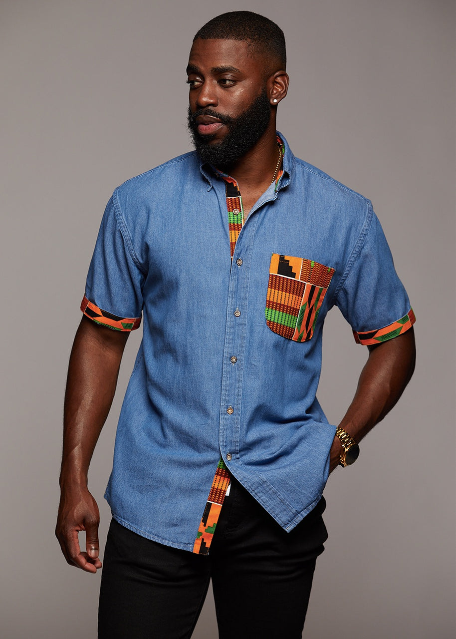 Tops - Mosi Men's African Print Denim Shirt (Yellow Green Kente)