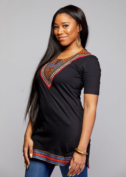 Tops - Nasha Women's Fitted Dashiki African Print T-Shirt Dress (Black/Red/Blue)