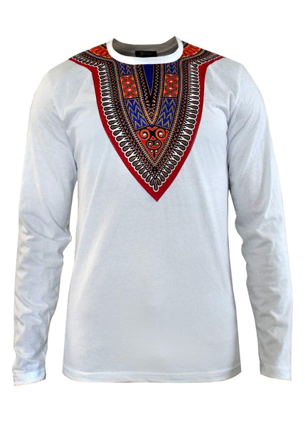 Tops - New Thabo Men's African Print Dashiki Long Sleeve Shirt (White/Red/Blue)