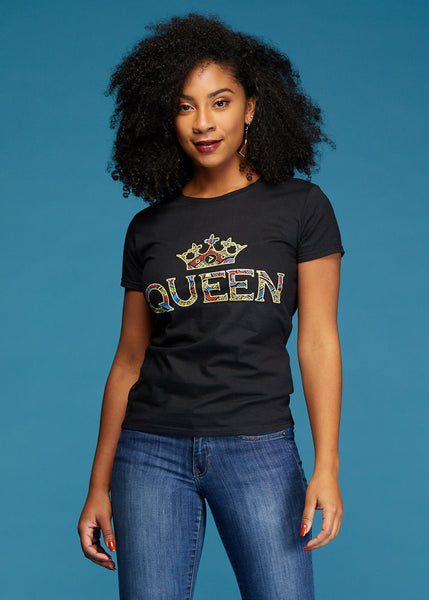 Tops - Ohema Women's Queen African Print Graphic T-Shirt (Black)