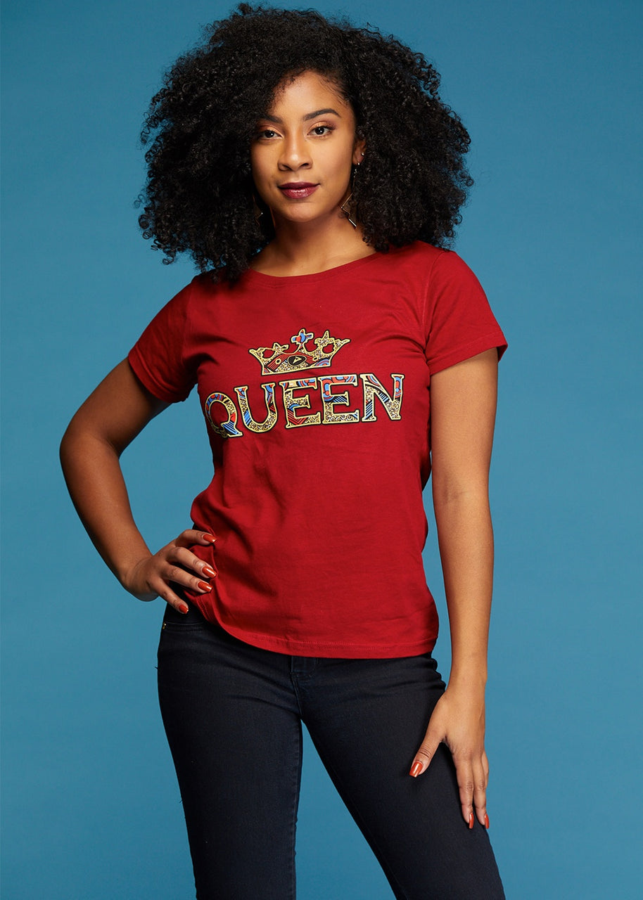 Tops - Ohema Women's Queen African Print Graphic T-Shirt (Maroon)