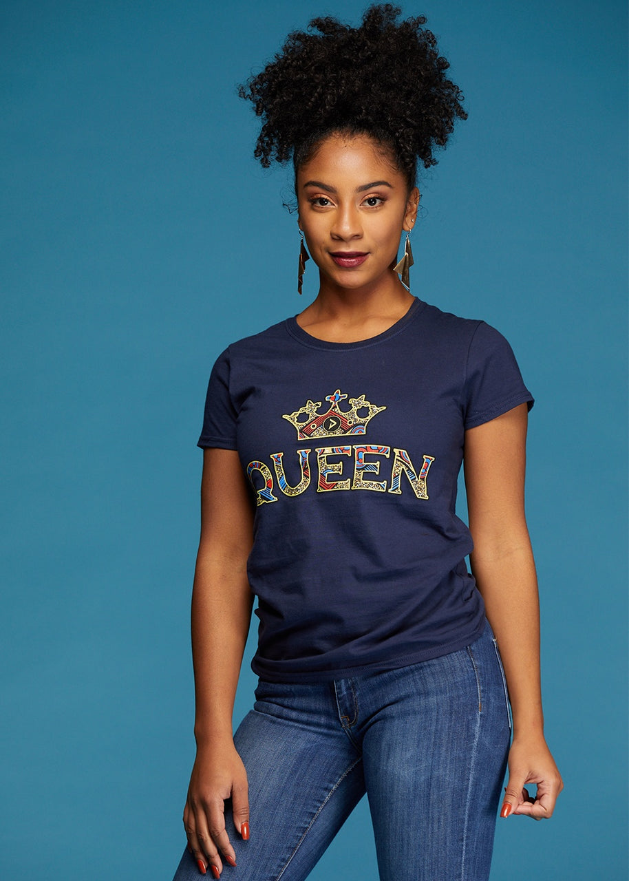 Tops - Ohema Women's Queen African Print Graphic T-Shirt (Navy)