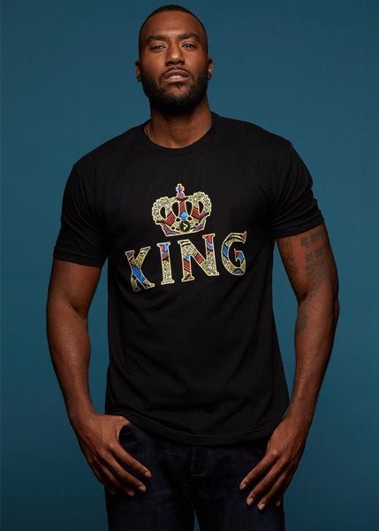 Tops - Ohene Men's King African Print T-Shirt (Black)