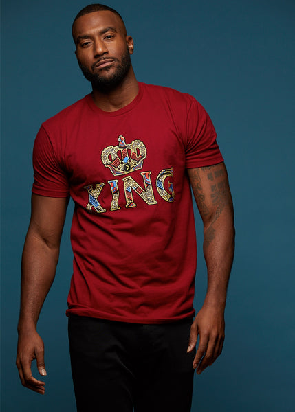 Tops - Ohene Men's King African Print T-Shirt (Maroon)