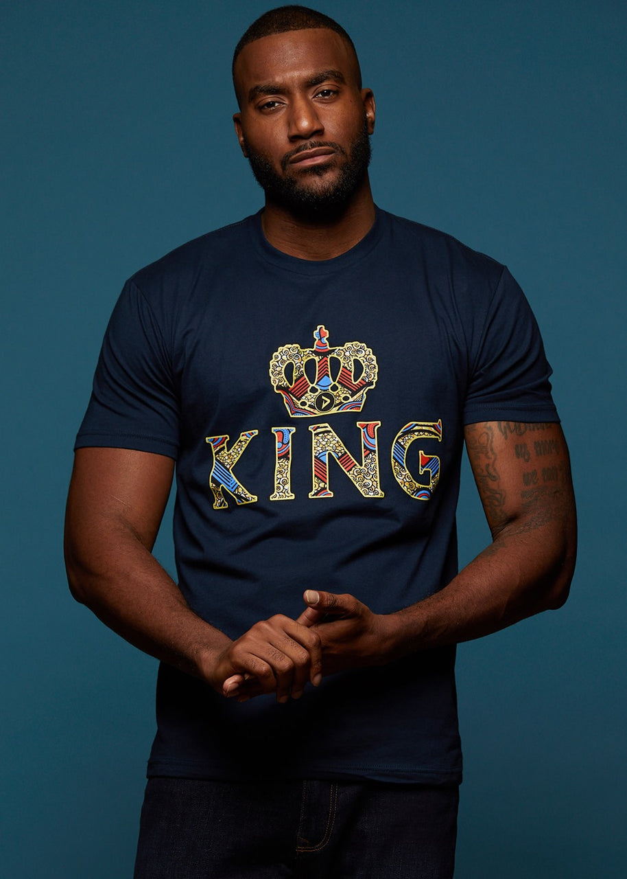 Tops - Ohene Men's King African Print T-Shirt (Navy)
