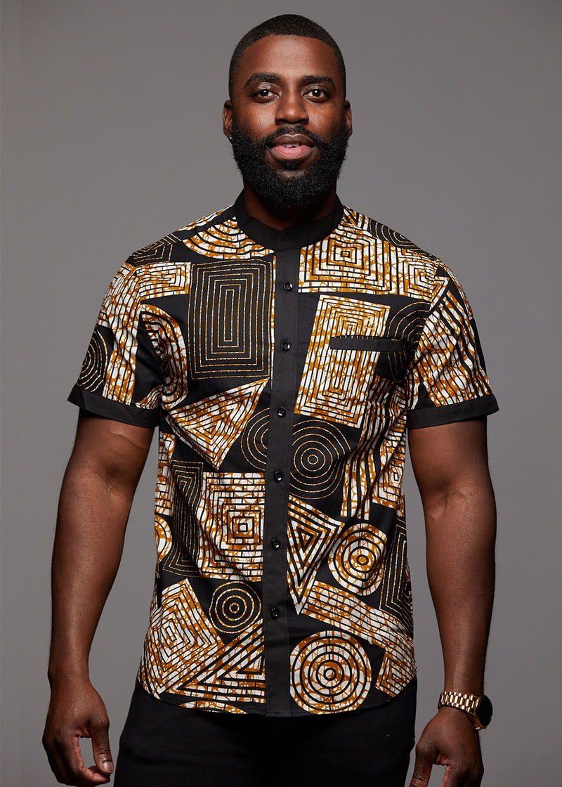 Tops - Olu Short Sleeve Mandarin Button-Up African Print Shirt (Black Brown Geometric)