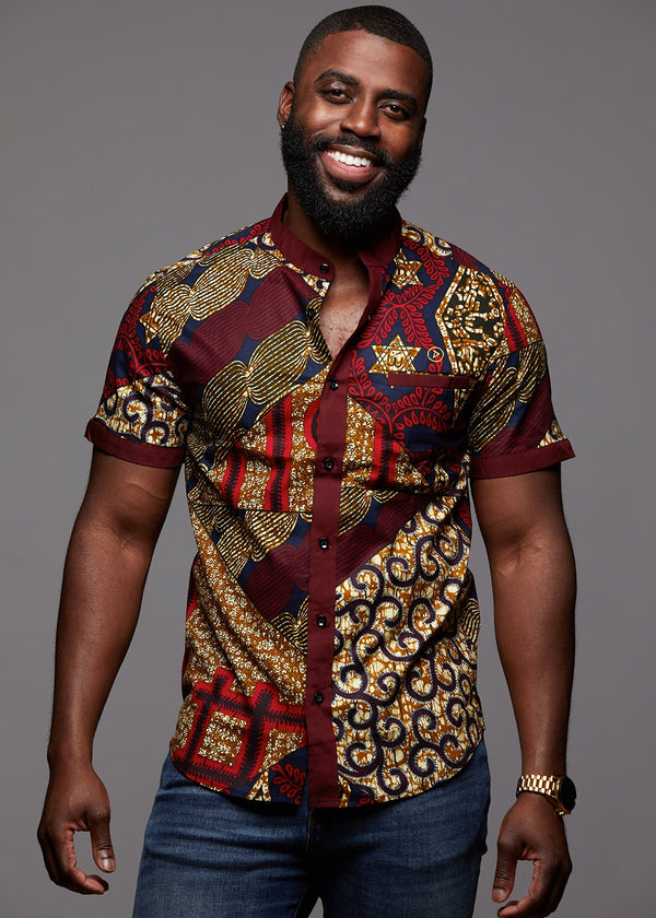 Tops - Olu Short Sleeve Mandarin Button-Up African Print Shirt (Maroon Multipattern)