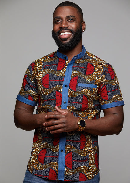 Tops - Olu Short Sleeve Mandarin Button-Up African Print Shirt (Red Umbrellas On Tan)