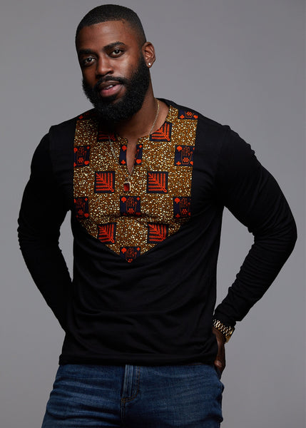 Tops - Omari Men's African Print Long Sleeve Shirt (Orange Tiles On Tan)