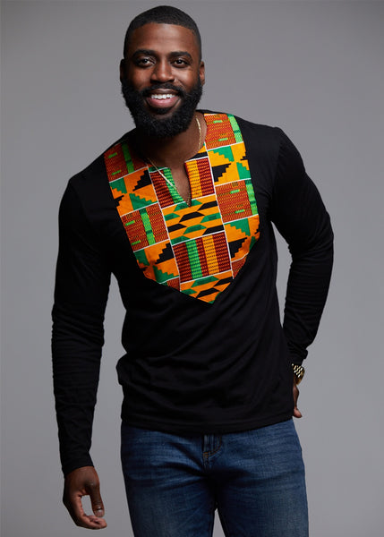 Tops - Omari Men's African Print Long Sleeve Shirt (Yellow Green Kente)