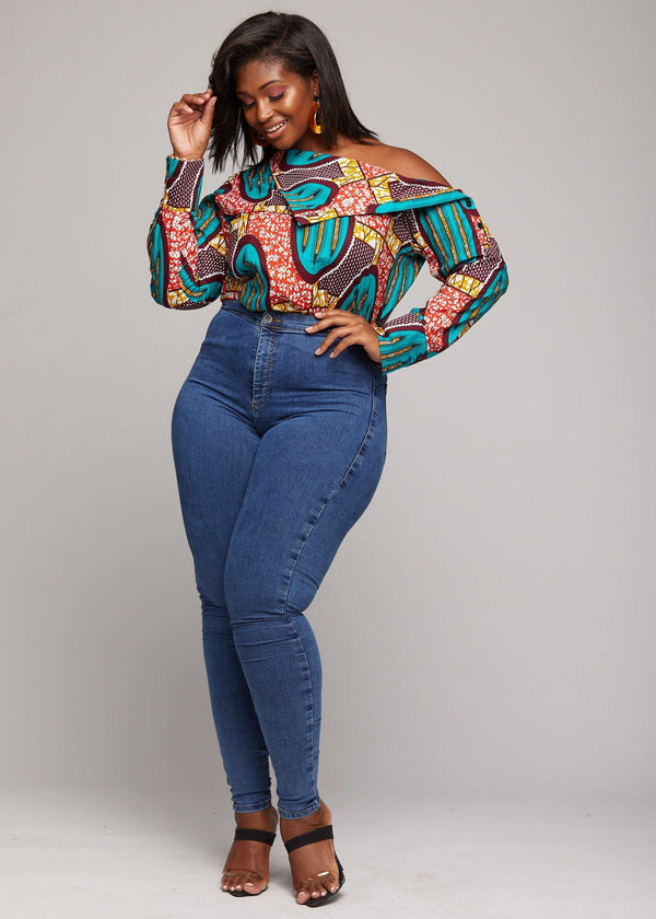 Tops - Rayen African Print Cold Shoulder Fold Over Top (Orange Teal Ovals)