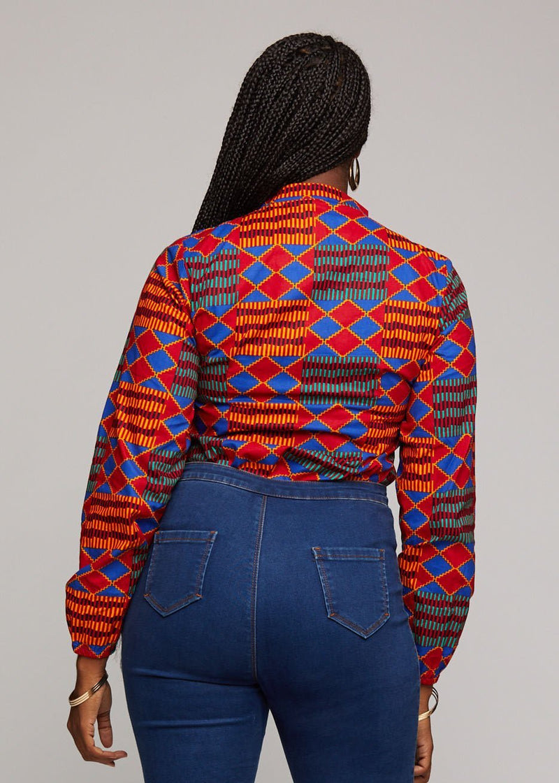 Tops - Sade African Print Cut-out Button-up Shirt (Blue Red Kente)