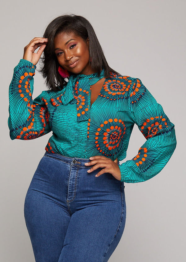 Tops - Sade African Print Cut-out Button-up Shirt (Turquoise Orange Swirls)