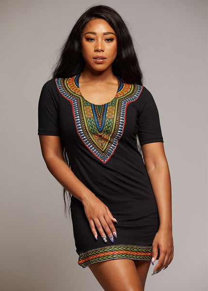 Tops - Sayeh Women's Fitted Dashiki African Print T-Shirt Dress (Black)