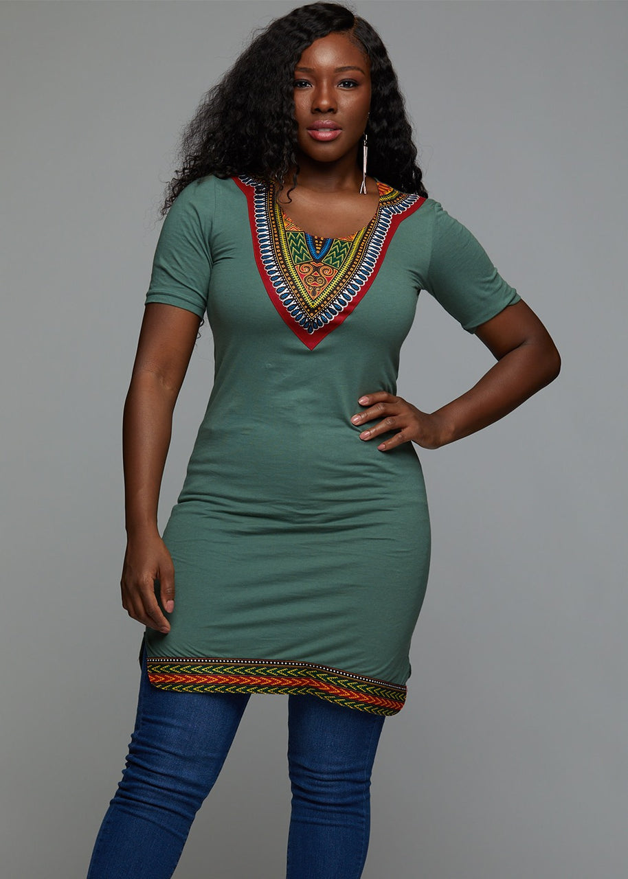 Tops - Sayeh Women's Fitted Dashiki African Print T-Shirt Dress (Green/Red/Blue)