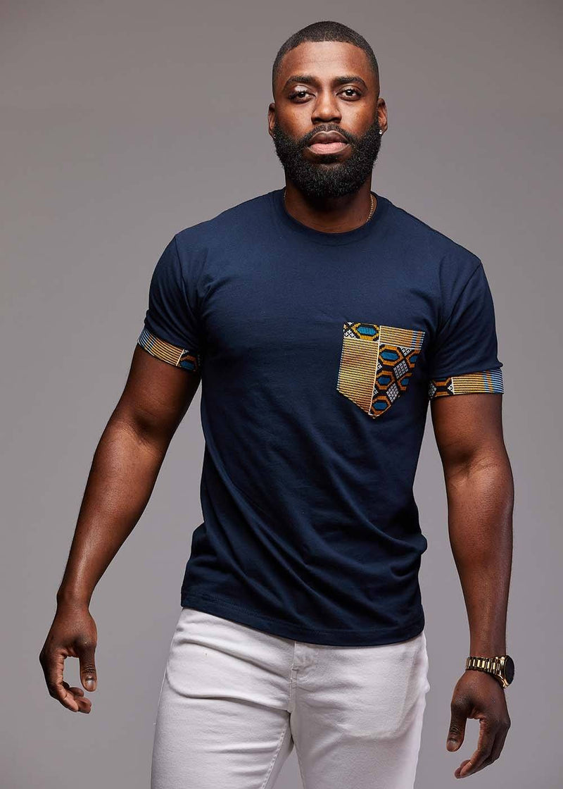 Tops - Seun Men's African Print T-Shirt With Pocket (Blue/Tan/Navy)