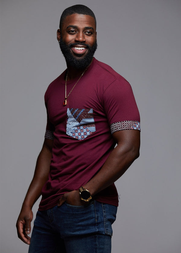 Tops - Seun Men's African Print T-Shirt With Pocket (Maroon/Blue Crown)