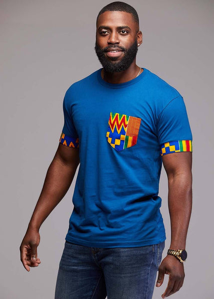 Tops - Seun Men's African Print T-Shirt With Pocket (Orange/Blue Kente)