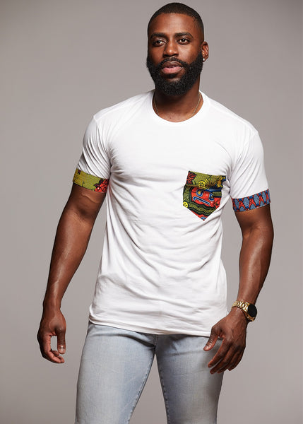 Tops - Seun Men's African Print T-Shirt With Pocket (White/Multicolor)