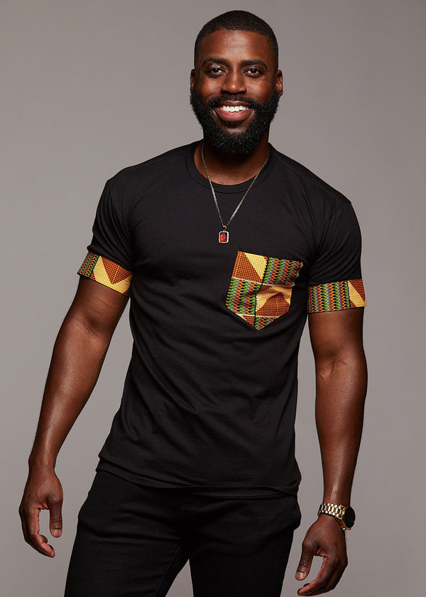 Tops - Seun Men's African Print T-Shirt With Pocket (Yellow/Green/Copper)