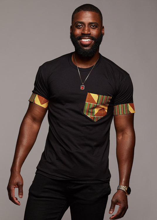 Seun Men's African Print T-Shirt with Pocket (Yellow.