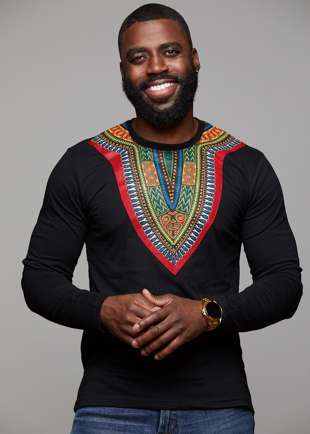 be322476d Thabo Men's African Print Shirt in Black - Dashiki T-Shirt - D'IYANU