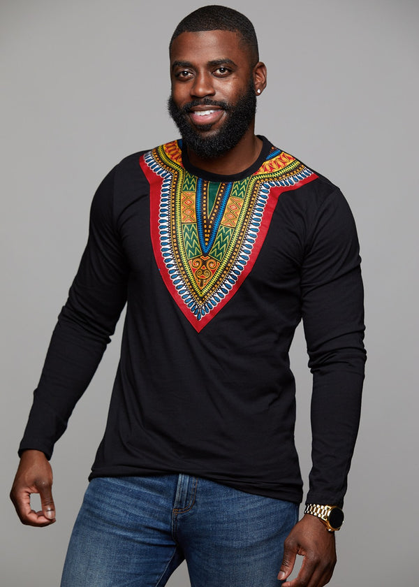 Tops - Thabo Men's African Print Dashiki Long Sleeve Shirt (Black)