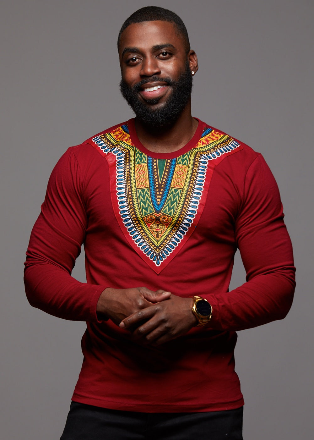 cb8e756b8 Long Sleeve Dashiki Maroon - Men's African Clothing D'IYANU