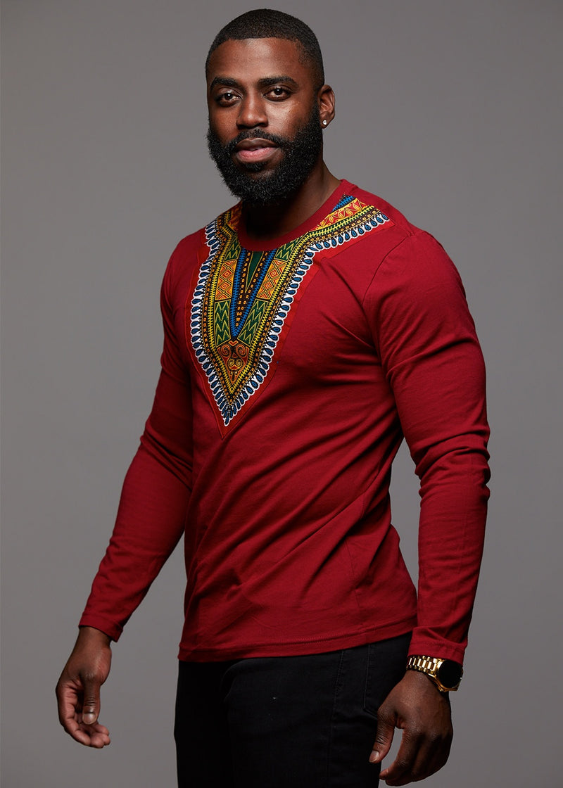 Tops - Thabo Men's African Print Dashiki Long Sleeve Shirt (Maroon)