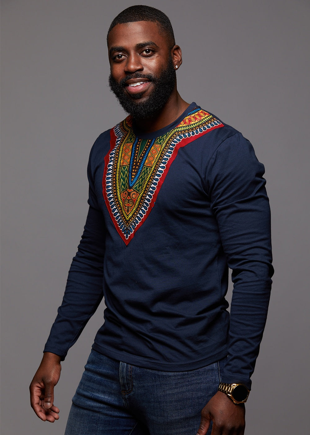African Style Printed Long Sleeve Top T-Shirt Round Neck Mens Shirt Dashiki New