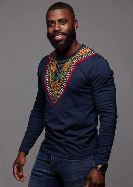 Tops - Thabo Men's African Print Dashiki Long Sleeve Shirt (Navy)
