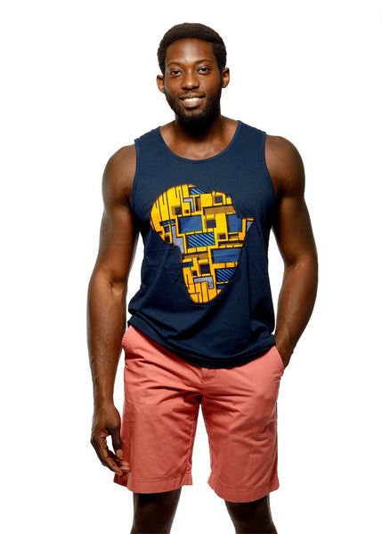 Tops - Tobi Men's Africa Tank Top (Yellow/Blue/Navy)