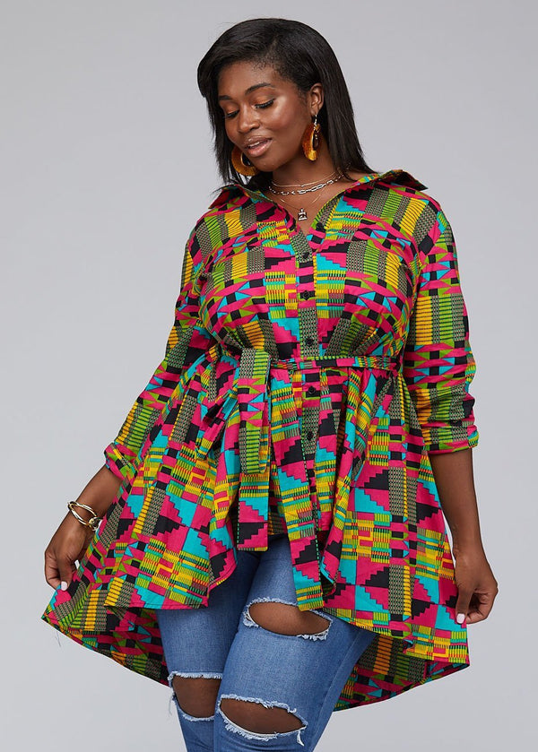 Tops - Tumela African Print High Low Button Up Shirt (Raspberry Yellow Kente)