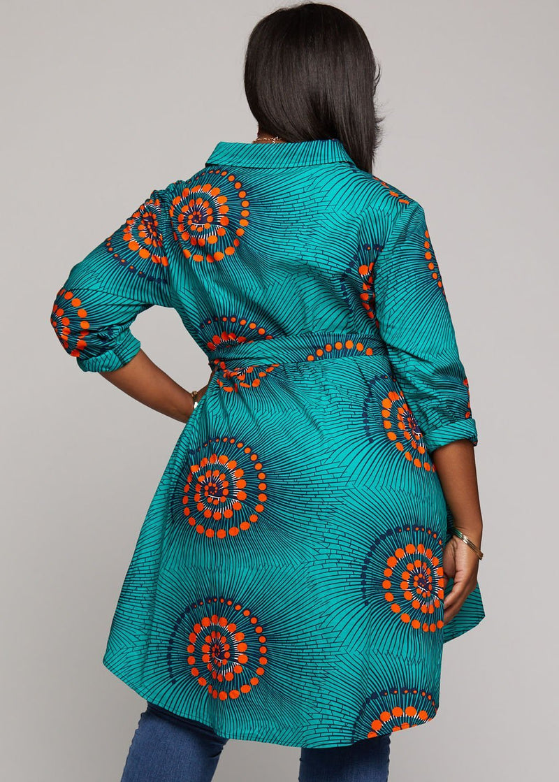 Tops - Tumela African Print High Low Button Up Shirt (Turquoise Orange Swirls)
