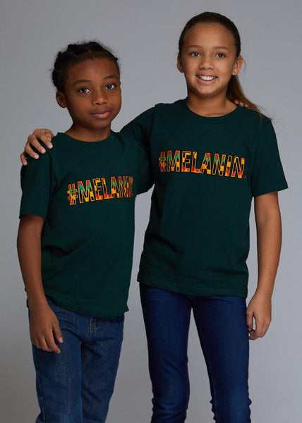 Tops - Tunji Kids African Print Melanin T-shirt (Forest Green)
