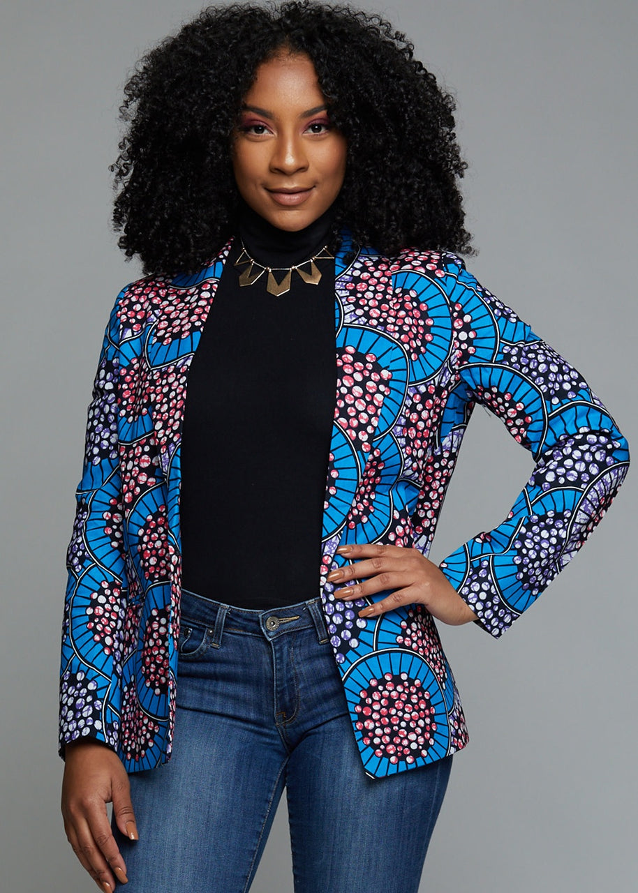 Tops - Uche African Print Shawl Collar Long Blazer (Blue Multicolored Circles)